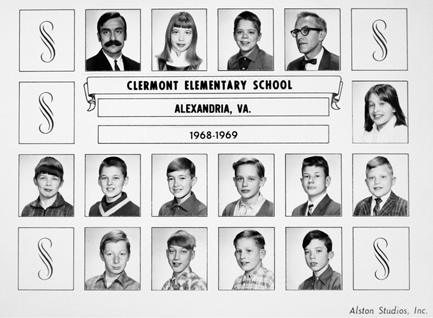 Class photograph from Clermont Elementary School during the 1968 to 1969 school year. Thirteen children, their teacher, and Principal Manno are pictured.