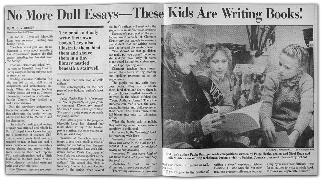 Photograph of the Washington Post article about Clermont Elementary School.
