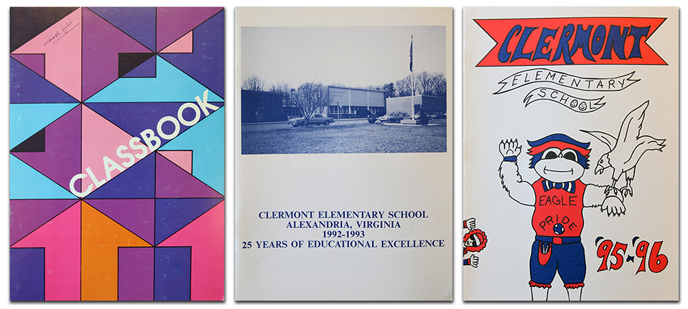 Photograph of the covers of three Clermont Elementary School yearbooks.